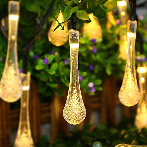 Etanche Guirlande Lumineuses Solaire d'extérieur, Jiafeng 15.7 Ft / 4,8M 30 Led Forme de Goutte d'eau Jardin Cordes Guirlande lumineuse lumières décoratives pour l'extérieur, le jardin, Patio, Noël, Fête (30 Led, Chaud Blanc)