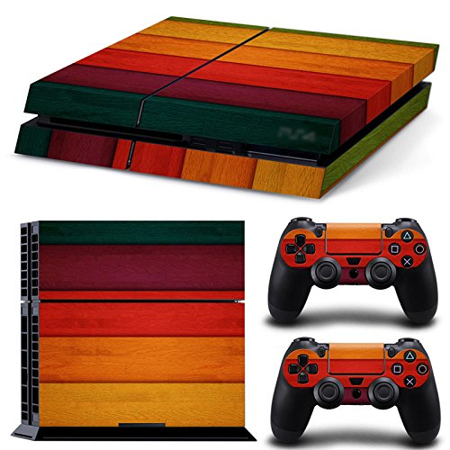 PlayStation 4 Designfolie Sticker Skin Set für Konsole + 2 Controller – Wood Color