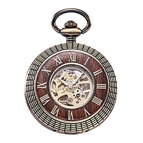 TREEWETO taschenuhr mit kette herren holz maserung retro römische ziffern taschenuhren mechanisch pocket watch