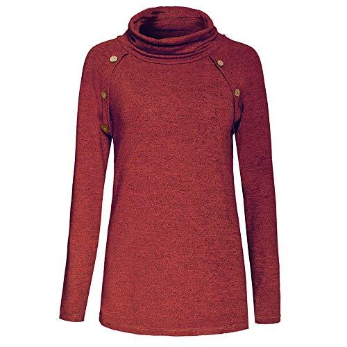 iHENGH Karnevalsaktion Damen Lässig Cowl Neck Design Knöpfe Langarm Frauen Top Sweatshirt ()
