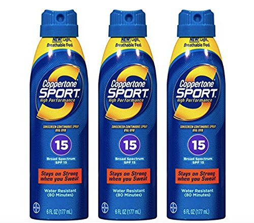 Coppertone Sport Continuous Spray SPF 15, 6-Ounce Bottle (Pack of 3) by Coppertone -