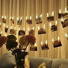 ELINKUME LED Photo Clip guirlandes, 20 Clips Photo, 2,2 m/7,21 pieds, blanc chaud, alimenté par batterie, idéal pour accrocher des photos, Notes, illustrations, mémos et etc.