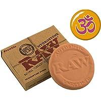 2pezzi Raw tabakbefeuchter HYDROSTONE terracotta + Aum ANSTECKBUTTON Arancione 25mm–Ton humydrolen humidrole Pouch Button contro secco Tabacco sigarette