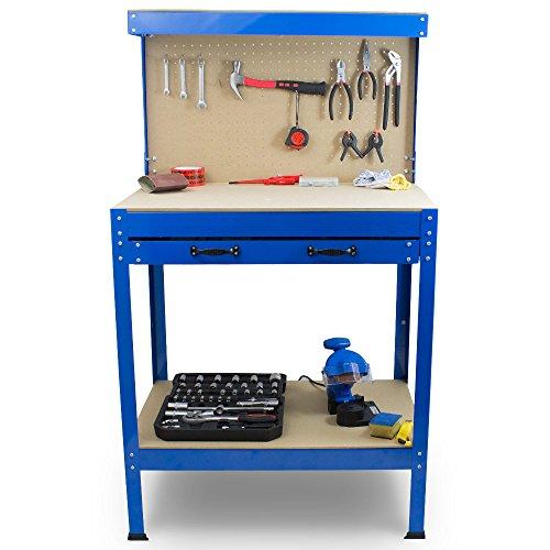 BITUXX® Werkbank Werktisch Arbeitstisch Arbeitsplatte Lochwand Schublade Werkstatt 80 x 50 x 140 cm - 2