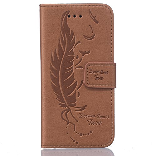 iPhone SE Hülle,iPhone 5S Ledertasche,iPhone 5 Case - Felfy Tasche PU Ledertasche Luxe Eleganz Bookstyle Wallet 3D Relief geprägtes Design Case Ledertasche Schutzhülle Blume Flower Muster Flip Standfu Feder Braun Case
