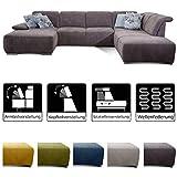 CAVADORE Wohnlandschaft Tabagos / U-Form mit Ottomane rechts / XXL Couch mit Sitztiefenverstellung /...