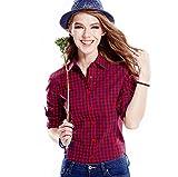 ACVIP Chemise Carreaux Casuel Slim Col Classique Simple Manche Longue Shirt Blouse de Coton pour Femme, 6 Couleurs