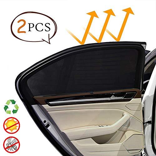 2 Pack Sonnenschutz Auto Kinder Baby mit UV Schutz Sonnenrollo Autofenster Fenster Heckscheibe Seitenscheibe Tragbare Auto Sonnenblende Schwarz für Die Meisten Auto