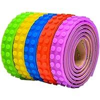 NOVSIX 5 Rolls Ruban de Bloc de Construction pour Briques Lego, Silicone Multicolore Rubans de Sécurité Non-Toxiques avec Bandes Réutilisables Auto-Adhésives Bandes de Baseplate pour Enfants