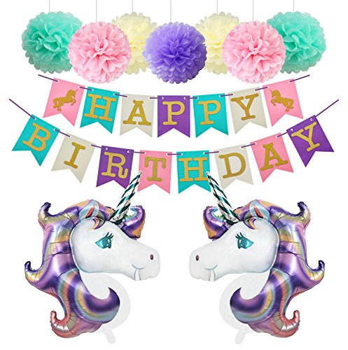 nde Einhorn Luftballon Deko Party Zubehör Kinder Geburtstag Set Stoff Banner Ballons Dekoration (Lavendel) (Unicorn Party Supplies)