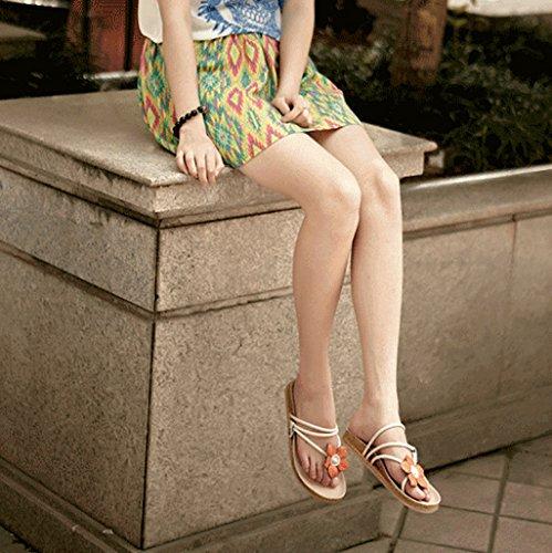 PENGFEI sandali delle donne Sandali piatti Sandali da spiaggia estate Femmina moda Sandali antiscivolo flip flops Beige e marrone Confortevole e traspirante ( Colore : Beige , dimensioni : EU37/UK4.5- Beige