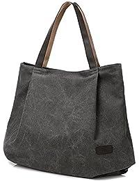 Women Shoulder Bags Canvas School Book Bags For Teenage Girls Travel Organizer Tote Purse Hobos Beach Bags-Grey...