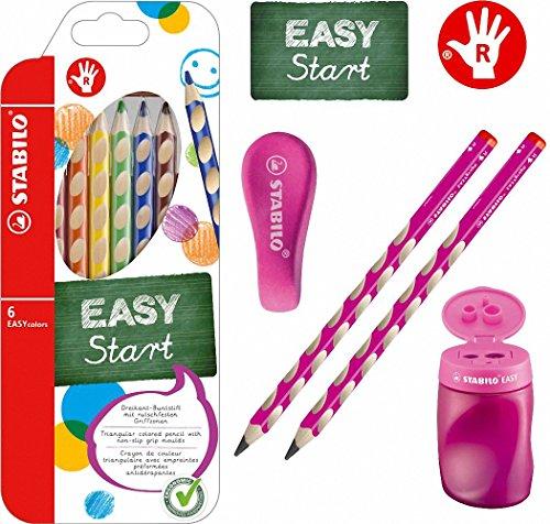 Stabilo EASY-Starter-Set R1 pink mit Bleistiften, Buntstiften, Dosenspitzer und Radierer