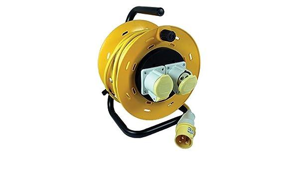 25m 110V Extension Cable Reel 16 Amp 110 Volt 1.5mm 2 Sockets Site Workshop