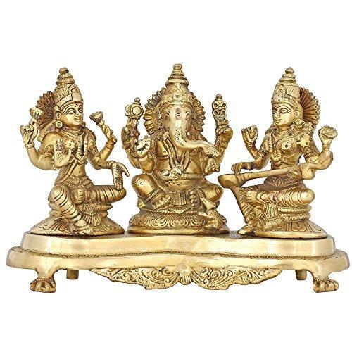 Handmade Indian Brass Ganesha, Lakshmi & Saraswati Statue - Hindu Religious Items for Home Puja or Temple - 9.5 X 6 X 4 Inch - 3 Kg by ShalinIndia (Religiou Statue)
