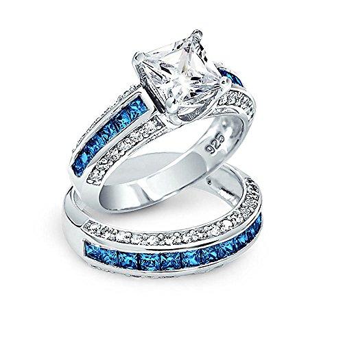 Bling Jewelry 3Ct Quadrat Princess Cut Solitär AAA London Blau AAA CZ Pave Band Verlobung Hochzeit Ringe Set 925 Sterling Silber
