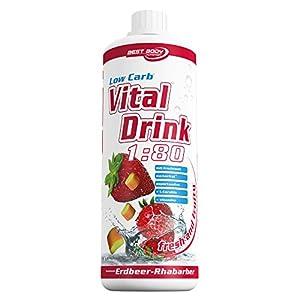 Best Body Nutrition Vital Drink, Erdbeer-Rhabarber, 1000ml Flasche