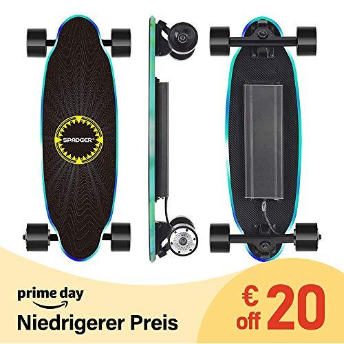 Spadger D5X - Elektro Skateboard, E-Skateboard mit LED-Licht und Fernbedienung, 250W bürstenloser Motor, Stoßfest Design, Reichweite bis zu 15 KM*, Für Erwachsene Jugendliche -