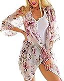 Aeneontrue Bikini Cover Up Bikini Bluse Chiffon Lang Strandkleid Blumen 1/2 Hülsen Damen Push Up Strandponcho Sommer Kleid Bikini Überwurf Cardigan Kimono