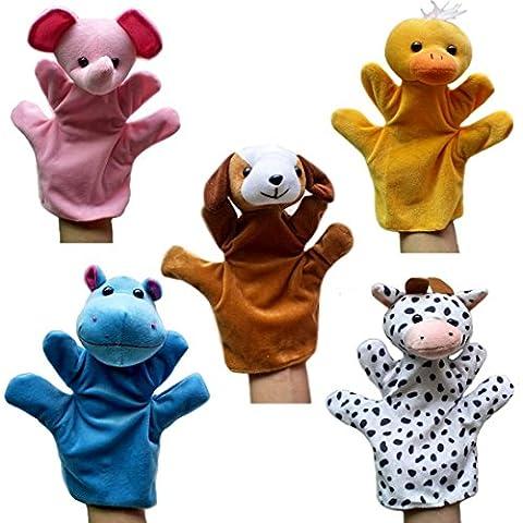 Happy Cherry - (Set de 5) Marionetas de Manos Juguetes de Peluche Animales para Niños niñas bebes Cuentacuentos - Elefante / Pato / Hipopótamo / Vaca / Perro