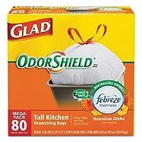 OdorShield Tall Kitchen Drawstring Trash Bags, Hawaiian Aloha, 13 Gal, 80/Box