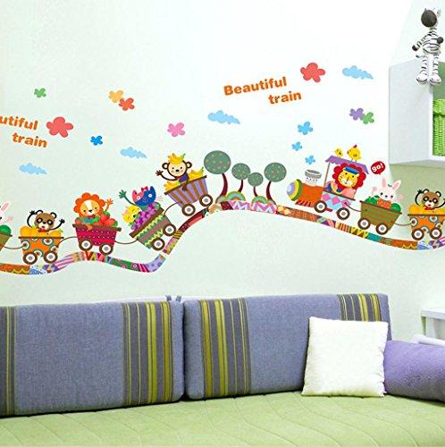 Pegatinas de pared,Dragon868 Cartoon animal tren pegatinas de pared para niños infantiles