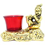 [Sponsored]The Holy Mart Gold Plated Krishna Tea Light Holder (3 TEA LIGHT CANDLES FREE)