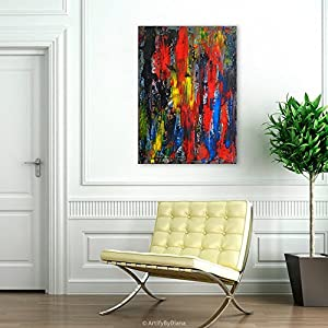 Large Textured Painting on Canvas - Abstract Multicolored Wall Art