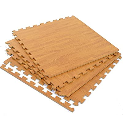 Marko Wood Effect Interlocking Mats EVA Soft Foam Exercise Gym Garage Office Floor Childrens Kids Play Mats Wooden Laminate Flooring Puzzle Matting - low-cost UK light shop.