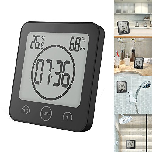 Sunsbell Digitale Baduhr, Duschwanduhr mit Temperatur- und Luftfeuchtigkeitsmessfunktion Kreative Uhr LCD-Bildschirm DREI Installationsmethode (Schwarzes) - Uhr Dusche Lcd