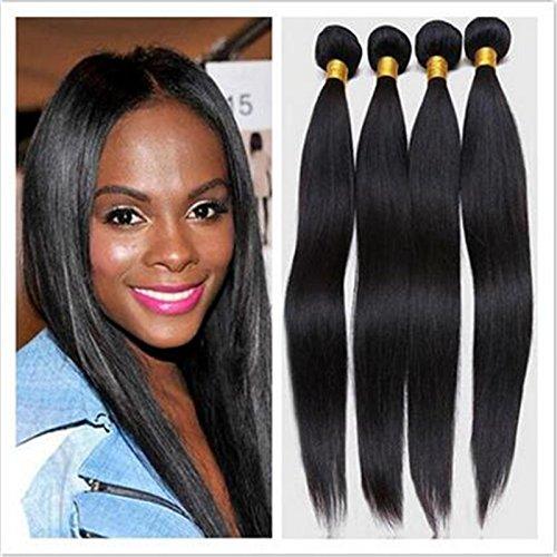 Droite cheveux Extensions capillaires 100% cheveux humains naturels non traités brésiliens vierges couleur tissage noir naturel 100 g (55,9 cm 3)