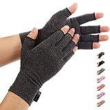 Duerer Arthritis Handschuhe - Fingerlose Kompressions für die Schmerzlinderung von Rheumatoide & Osteoarthritis Arthrose - Anti arthritis kompressionshandschuhe – Frauen & Männer(Schwarz,Klein)