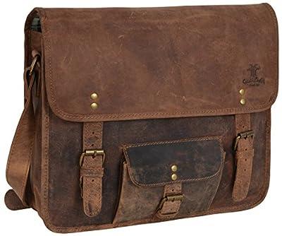 Gusti Cuir studio Matt sac à bandoulière sac messenger sac porté épaule sac en cuir véritable cabas en cuir vintage rétro besace université soirée marron 2U1-17-1