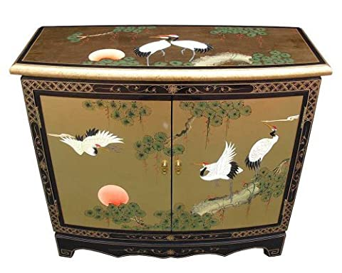 Oriental Chinese Furniture - Gold Leaf 2 Door Hall Cabinet with Cranes Design by China Warehouse Direct