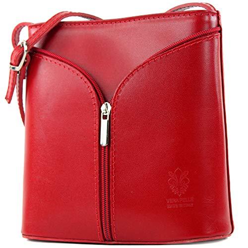 modamoda de - ital Kleine Umhängetasche aus Leder D19, Farbe:Rot -