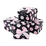 Caratteristiche:Dimensioni ridotte alta qualità spotted bambino rosa polka dotted box gioielli anello collana bracciale regalo scatole inserto imbottito.Il coperchio è decorato con pois, un nastro e fiocco attaccato, facile per il gift-givin...