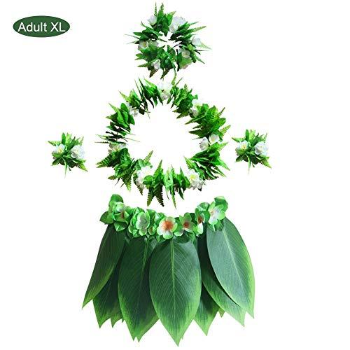 Fünf-teiliges hawaiianisches Hula Luau Party Green Leaf Kranz Halskette Armband Blatt Rock BBQ Party Kleidung Dekoration (Dragon-party Green Dekorationen)