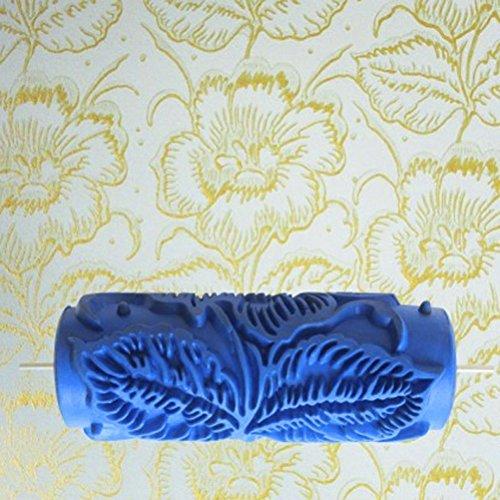 rullo-honeysuck-goffratura-decorativo-fiore-modello-pittura-murale-15-cm-blu