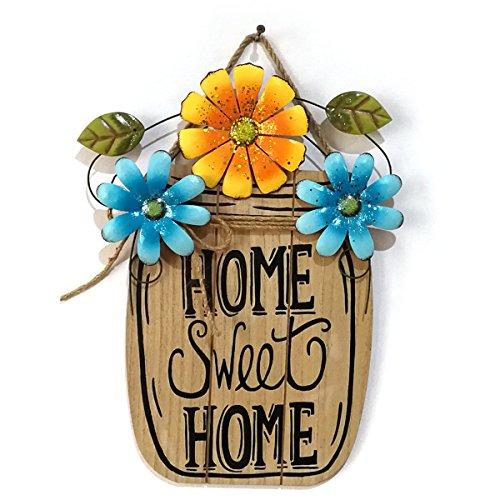 VORCOOL Dekoschild Holzschild zum Aufhängen mit Blumen für Haus und Garten - Home Sweet Home