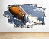 tekkdesigns B003NASA Space Shuttle Erde Planeten Mond Wand Aufkleber 3D Poster Kunst Aufkleber Kinder Schlafzimmer Kinderzimmer Baby Cool Wohnzimmer Hall Jungen Mädchen (groß (90x 52cm))