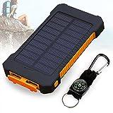 Solar Ladegerät, 10000mAh Dual USB Port Externe Akku, Wasserdichtes Staubdicht und Stoßfeste Tragbare Energienbank Handy-Ladegerät mit LED Licht für Camping Wandern und andere Outdoor Aktivitäten (Orange)