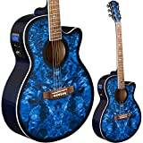 Lindo LDG-BS Elektro-Akustische Gitarre mit Vorverstärker, digitalem Tuner,...