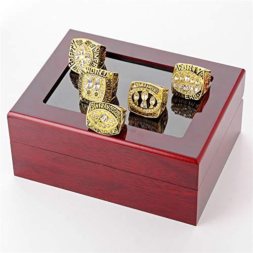 Luxuon Ringe5 Stücke des Mannes Ringe Sets, San Francisco 49ers Championship Ring Die Super Bowl Replik Ringe Sammlung Geschenk Größe 11 mit Vitrine Sammlung 11