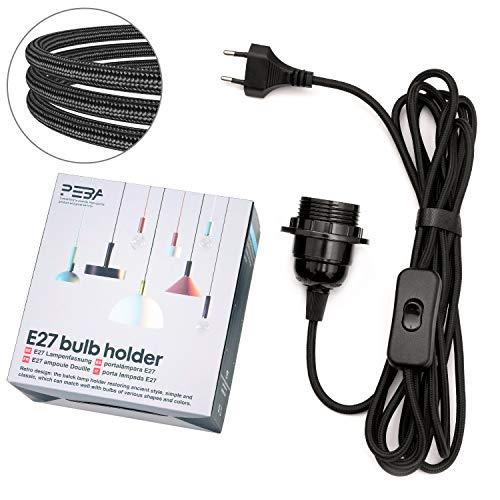 E27 Lampenfassung mit Schalter und Stecker E27 Fassung mit 3.5m Textilkabel Netzkabel Lampensockel Lampenkabel Schwarz PEBA für Kabel Pendelleuchte Hängeleuchte