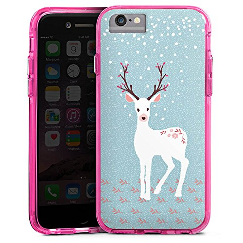 Apple iPhone 8 Bumper Hülle Bumper Case Glitzer Hülle Hirsch Reh Deer Bumper Case transparent pink