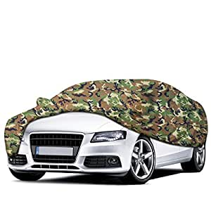 Audew Camouflage Car Cover Snow Cover Sun Shade Protector Indoor/Outdoor Water Resistant Car Cover Storage Protection Breathable