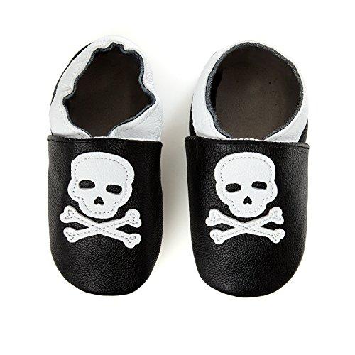 smileBaby premium Zapatos de bebé Piel suave Negro Calavera 6 a...