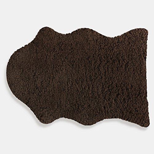 SKY Kunstfell Teppich Maja | extra weich | kuschlig handgetuftet | 100% Polyester | braun | Wohnzimmerteppich/Bettvorleger/Badematte/Stuhlauflage in 2 Größen (120 x 180 cm)