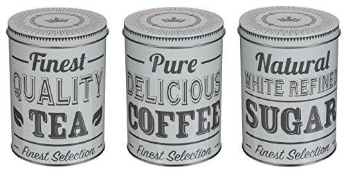 Bada Bing 3er Set Metalldose Kaffeedose Vorratsdose Rund Kaffee Tee Zucker Dose Geschenkkarton 1930