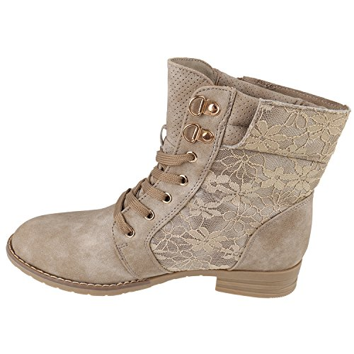 Damen Schnürstiefeletten Spitze Stiefeletten Zipper Worker Boot Khaki